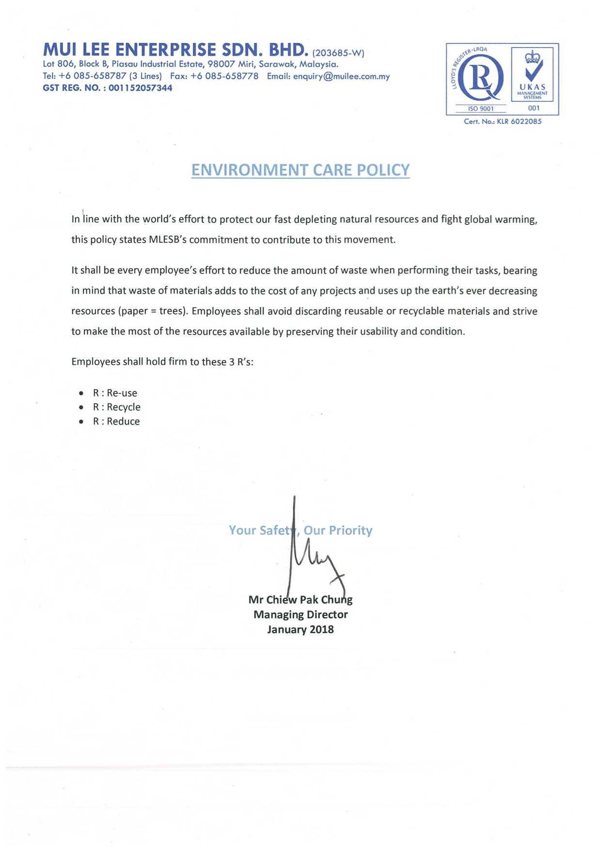 Environmental Care Policy